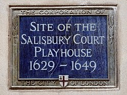 Site of the salisbury court playhouse 1629 1649