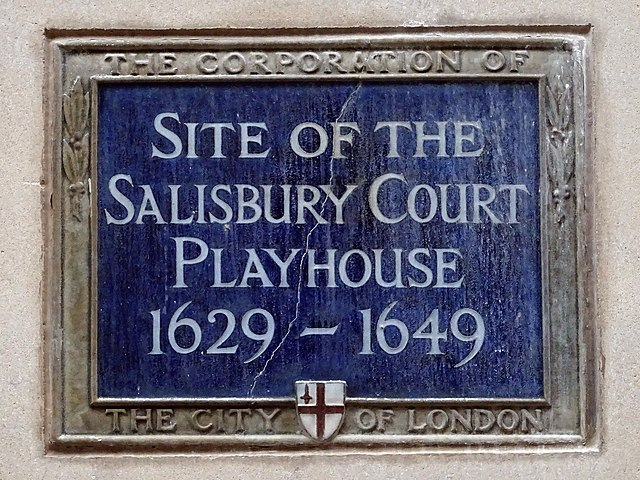 Salisbury Court Playhouse blue plaque - Site of The Salisbury Court Playhouse 1629-1649