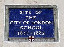 Site of the city of london school 1835 1882