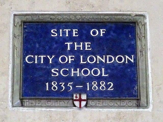 City of London School blue plaque - Site of the City of London School 1835-1882