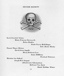 Yearbook listing of Skull and Bones membership for 1920. The 1920  delegation included co-founders of Time magazine 0a0e2796627