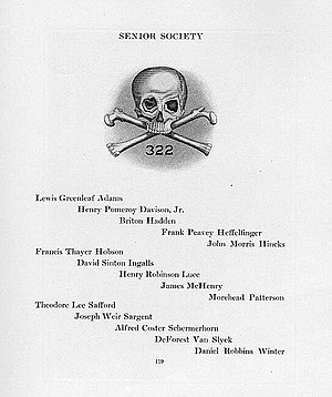 Skull and Bones - Yearbook listing of Skull and Bones membership for 1920. The 1920 delegation included co-founders of Time magazine, Briton Hadden and Henry Luce.
