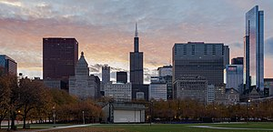 Legacy at Millennium Park - The Legacy Tower is on the right of this skyline as seen from Grant Park, looking towards the Petrillo Music Shell.