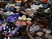 Handmade soaps sold at a shop in Hyères, France