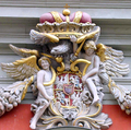 John III Sobieski's coat of arms crowning the Royal Chapel in Gdańsk with Vytis (Pahonia)
