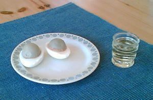 Pickled egg - Solæg (Danish pickled eggs) and snaps