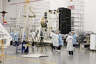 Bone char - This photo shows the Solar Orbiter with its black, bone char coated heatshield.