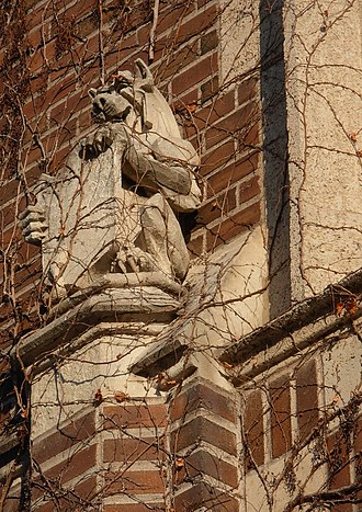 Winona State University - Architectural sculpture above an entrance to Somsen Hall.