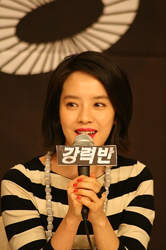 Song Ji-hyo - Song at the Crime Squad press conference in 2011.