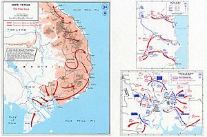 Fall of Saigon - Situation of South Vietnam before the capture of Saigon (lower right) on April 30, 1975.