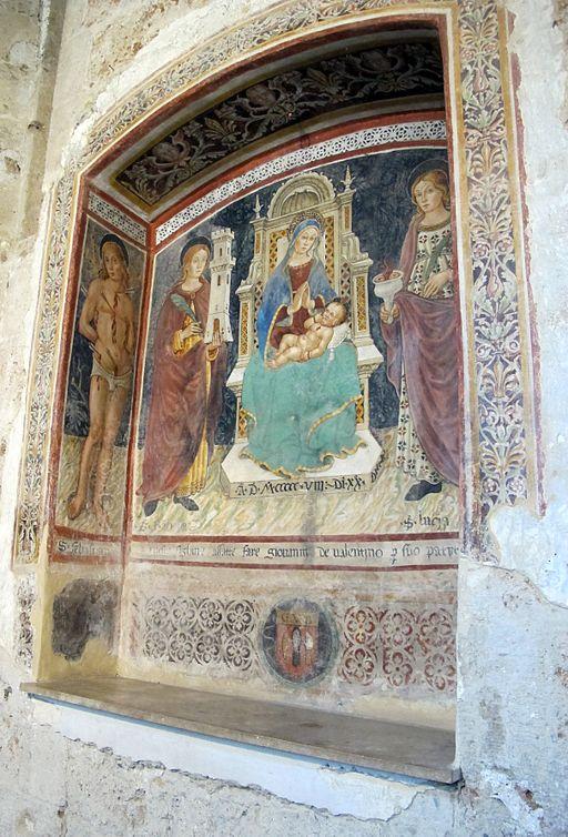 Sovana, chiesa di s. maria maggiore, int, affresco madonna col bambino e santi (1508), 03