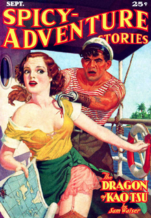 Cover of Spicy-Adventure Stories, showing a woman with torn clothing running away from a hook-handed sailor.
