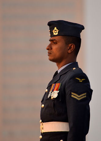 Military awards and decorations of Sri Lanka - An Air Force serviceman in parade uniform, with medals pinned on left breast
