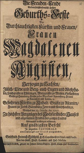 Gottfried Heinrich Stölzel - Image: Stölzel birthday serenata for magdalena augusta