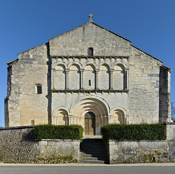 Church of Saint-Quentin (12th and 15th centuries), facade. Saint-Quentin-de-Chalais, Charente, France.