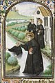 St. Maurus of Glanfeuil, walking on the water, saves St. Placidius from drowning - Book of hours Simon de Varie - KB 74 G37 - 083r min.jpg