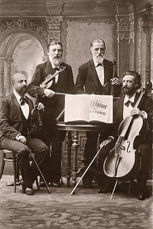 Russian Musical Society - The String Quartet of the Russian Musical Society of Saint Petersburg in the 1880s; (left to right) Leopold Auer, Johann Wilhelm Zacharias Pickel, Hieronymus Weickmann, Aleksandr Verzhbilovich