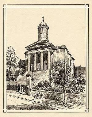 St George's Church, Brandon Hill - Plate etching of St George's Church, Brandon Hill, Bristol, UK, published before 1958. Viewed from the south, the image shows the church as it looked before the modern landscaping of its grounds.  In the foreground is a street scene with five people ascending the steps to the church.