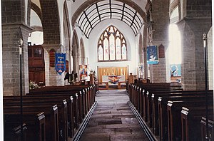 Modbury - The exterior and interior of Modbury's parish church of Saint George.