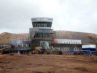 Saint Helena Airport - Construction of the airport terminal and air traffic control tower.