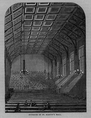 John Pyke Hullah - c.1850 print of the interior of St Martin's Hall.