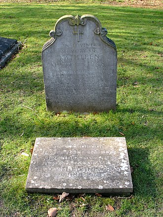 """Kathleen Cavendish, Marchioness of Hartington - St Peter's Churchyard, Edensor - grave of Kathleen Cavendish, Marchioness of Hartington (née Kennedy, 1920–1948). Her grave is marked with a headstone and a plaque in the ground commemorating the visit of 35th U.S. President John F. Kennedy at the gravesite. On her gravestone, it says """"Joy she gave joy she has found"""""""