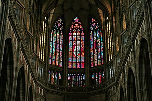 Stained glass in St. Vitus Cathedral, Prague