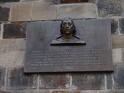 Staroměstská radnice, pamětní deska - Jan Želivský