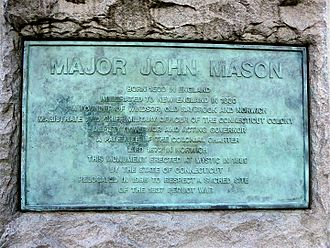 John Mason (c. 1600–1672) - Replacement plaque on the John Mason Statue in Windsor, Connecticut USA