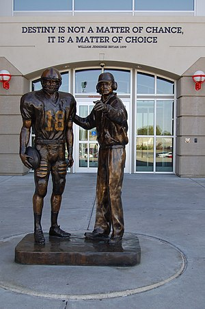 Brook Berringer - Statue of Brook Berringer (left) with Tom Osborne located at the entrance to the Osborne Athletic Complex at Memorial Stadium in Lincoln, NE.