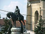 Statue of Matthias Corvinus in front of St. Michael's Church