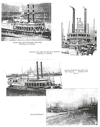 John Baptiste Ford - Pictured is a collection of steamboats produced by Captain John Baptiste Ford in New Albany, Indiana.
