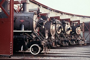 Steamtown National Historic Site - Five locomotives in the roundhouse