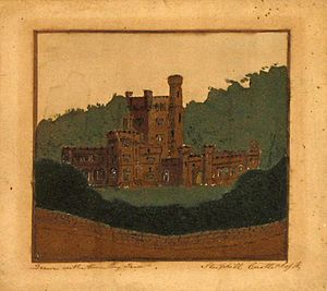 Marmotinto - Victorian sand picture of Steephill Castle by Edwin Dore