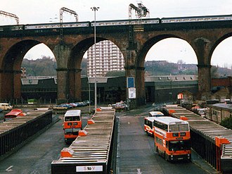 Greater Manchester - Stockport Bus Station in 1988. Greater Manchester Transport (later GM Buses) operated bus services throughout the county, from 1974 to 1993.