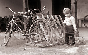 History of cycling infrastructure - Makeshift bike racks in Slovenia (1956)
