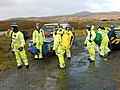 Stornoway Cliff Rescue Team waiting to be lifted by helicopter from the old road - geograph.org.uk - 1519396.jpg