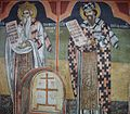 Sts. Theodore Tyron & Theodore Stratelates in Dobarsko Saint Sylvester and Sain Cyril the Philosopher Fresco.jpg