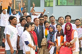 Students taking photo with their principal Abu Taher on their rag day, Comilla Victoria Government College, Honours Section, 2018-01-13 (20).jpg