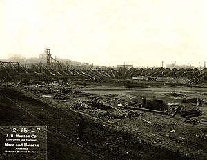 Sulphur Dell - Construction of the new grandstand in 1927