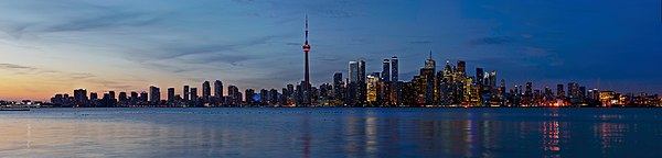 Sunset Toronto Skyline Panorama from Snake Island.jpg