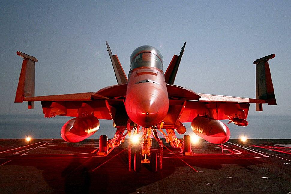 Super Hornet on flight deck