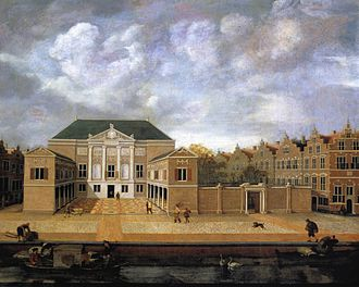 Museum De Lakenhal - Museum entrance in the former Cloth Hall - 1642 painting by the Leiden architectural painter Susanna van Steenwijk. The eastern expansion had not yet been realized.