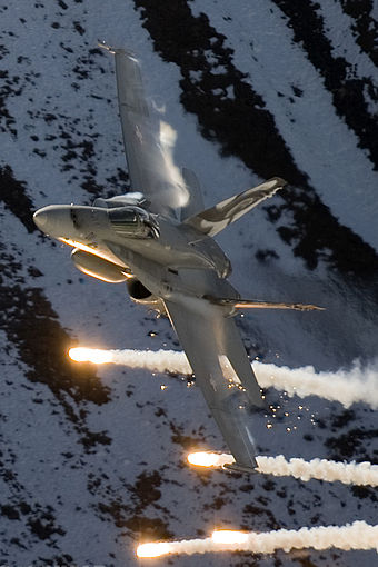 A Swiss Air Force F/A-18 Hornet at Axalp Air Show Switzerland - Air Force McDonnell Douglas FA-18C Hornet - cropped.jpg
