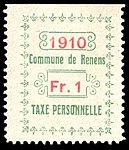 Switzerland Renens 1910 revenue 4 1Fr - 19B.jpg