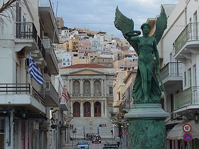 Statue of Nike (Victory) in Ermoupoli commemorating the Resistance Syros El. Venizelou Ermoupoli.jpg