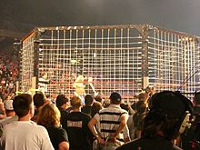 A steel cage in an arena surrounded by on-lookers