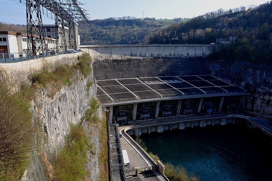 Genissiat dam at the river Rhône; Haute-Savoie and Ain, France.