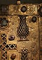 Tavoletta reliquiario di santa caterina, in rame dorato, cristallo di rocca e gemme, xiv secolo 02.jpg