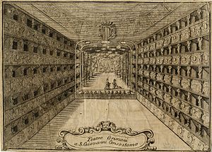 Teatro Malibran - Internal view of the Teatro Grimani a San Giovanni Grisostomo of 1709. Engraving by Vincenzo Maria Coronelli
